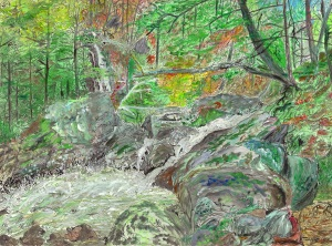 "Waterfalls at South River Station, Conway, Massachusetts, March 1992, ink and watercolor, 30""X22"""