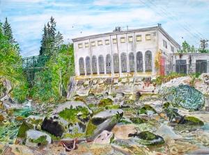 "Bull Run Powerhouse, Sandy, Oregon, July 2009, ink and watercolor, 26""X19"""