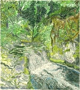 """Lower Punchbowl Falls, Columbia River Gorge, Oregon, October 2009, ink and watercolor, 11""""X15"""""""