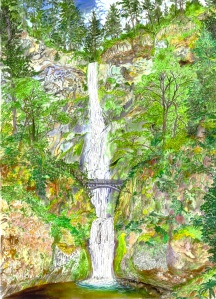 "Multnomah Falls, Columbia River Gorge, Oregon, October 2009, ink and watercolor, 26""X19"""