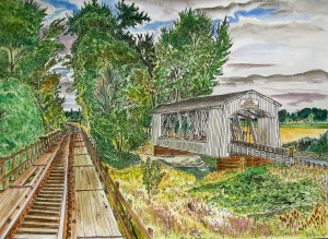 Gilkey Bridge, Scio, Oregon, August 2011, ink and watercolor, 15