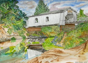 """Hoffman Bridge, Scio, Oregon, August 2011, ink and watercolor, 15""""X11"""" SOLD"""