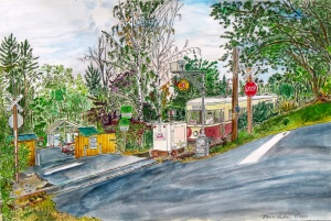 """Trolley Crossing at Macadam Bay, West Portland, Oregon, August 2010, ink and watercolor, 22""""X15"""""""
