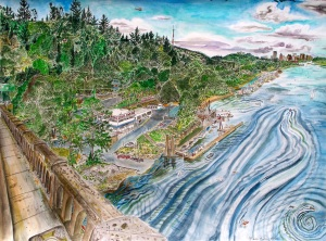 """View From the Sellwood Bridge, Portland Oregon, September 2010, ink and watercolor, 26""""X19"""""""