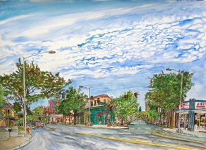 "Hollywood District, NE Portland, Oregon, September 2011, ink and watercolor, 26""X19"""