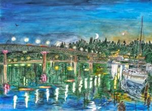 "Sellwood Bridge at Dusk, Portland, Oregon, September 2010, ink and watercolor, 26""X19"""