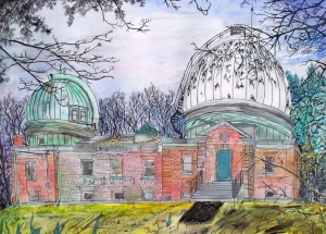 "Amherst College Observatory, Amherst, Massachusetts, March 1992, ink and watercolor, 30""X22"""