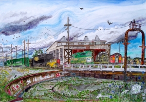 """Brooklyn Roundhouse, East Portland, Oregon, November 2010, ink and watercolor, 26""""X19"""""""