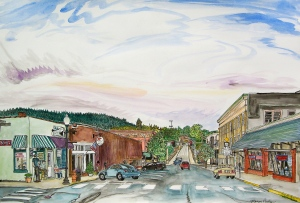 """Coin Corner and Hobby, Oregon City, Oregon, September 2011, ink and watercolor, 22""""X15"""""""
