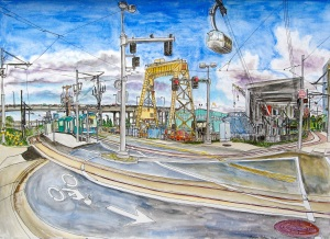 """SW Gibbs Street Ariel Tram Station, West Portland, Oregon, May 2011, ink and watercolor, 26""""X19"""""""