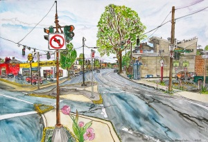 """NE 24th and Broadway Intersection, East Portland, Oregon, May 2011, ink and watercolor, 22""""X15""""(5-2011)"""