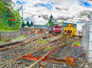 "Oregon Pacific Mini Maintenance Yard, East Portland, Oregon, May 2011, ink and watercolor, 22""X15"""