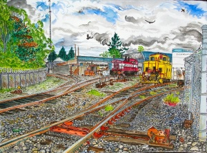 "Oregon Pacific Mini Maintenance Yard, East Portland, Oregon, May 2011, ink and watercolor, 22""X15"""