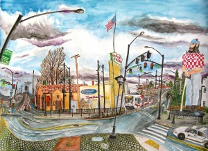 "The Kenton, NE Portland, Oregon, March 2012, ink and watercolors, 30""X22"""