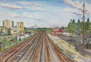 "View From NE Vancouver Ave. Overpass, East Portland, Oregon, August 2011, ink and watercolor, 22""X15"""