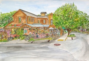"People's Coop, East Portland, Oregon, August 2011, ink and watercolor, 22""X15"""