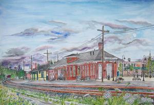 "Eugene Depot, Eugene, Oregon, August 2011, ink and watercolor, 22""X15"""