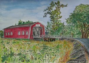 "Shimanek Bridge, Scio, Oregon, August 2011, ink and watercolor, 15""X11"""