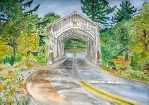 """Hannah Bridge, Scio, Oregon, August 2011, ink and watercolor, 15""""X11"""""""