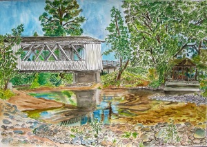 "Larwood Bridge, Scio, Oregon, August 2011, ink and watercolor, 15""X11"""