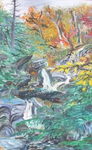 "Halifax Gorge, Halifax, Vermont, October 1992, oil, 18""X30"""
