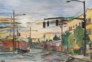 "SE 50th and Hawthorne St. Intersection, East Portland, Oregon, September 2011, ink and watercolor, 22""X15"""