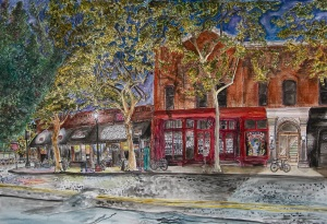 """Ash Street Saloon, West Portland, Oregon, September 2011, ink and watercolor, 22""""X15"""""""