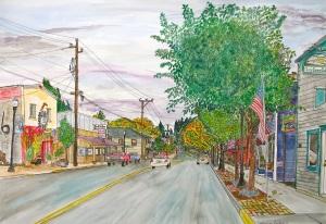"Bridge Street, Vernonia, Oregon, October 2011, ink and watercolor, 22""X15"""