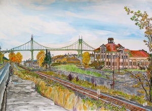 "Saint Johns Bridge, East Portland, Oregon, December 2011, ink and watercolor, 26""X19"""