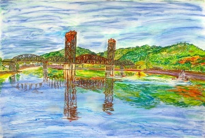 "Hoist Railroad Bridge over the Willamette River, East Portland, Oregon, December 2011, ink and pastels, 30""X22"""