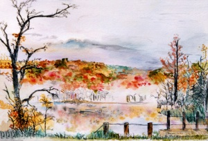 "Beaver Pond in Autumn, Marlboro, Vermont, October 1993, ink and watercolor, 15""X11"""