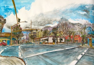 """Intersection of NW 21st and Glisan St., West Portland, Oregon, March 2012, ink and watercolors, 26""""X19"""""""