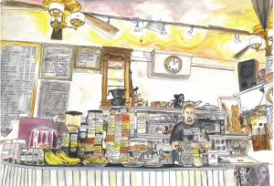 """Legare's Community Resource Center, Portland, Oregon, March 2012, ink and watercolors, 22""""X15"""""""
