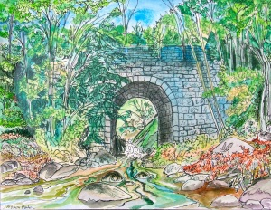 """Mouth of the Bear River, Conway, Massachusetts, April 2012, ink and watercolor, 15""""X11"""