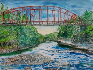 "Bardwells Ferry, Conway, Massachusetts, April 2012, ink and watercolor, 15""X11"""