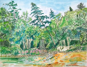 "Mouth of the South River, Conway, Massachusetts, April 2012, ink and watercolor, 15""X11"""