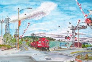 """SE Ochoco and 17th Ave. Crossing, East Portland, ink and watercolor, 22""""X15"""""""
