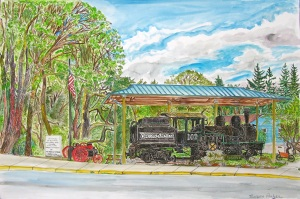 """Engine 102, Vernonia, ink and watercolor, 22""""X15"""""""