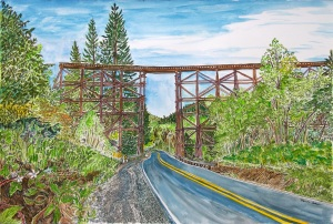"""Route 47 Trestle, Vernonia, ink and watercolor, 22""""X15"""""""