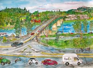 """Entering Sellwood, Portland, Oregon, 30""""X22"""""""