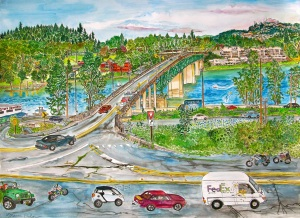 Entering Sellwood, Portland, Oregon, ink and watercolor, 30