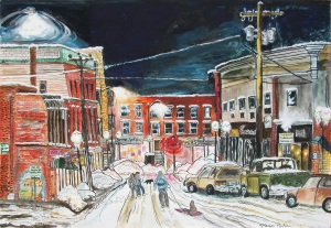 Elliot Street After a Snowstorm, Brattleboro, Vermont, ink and watercolor, 22