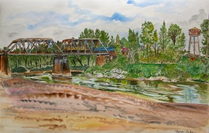 """Trestle at Oxbow Park, Gresham, Oregon, ink and watercolor, 22""""X15"""""""