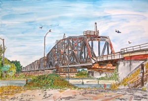 """South Entrance of Swinging Railroad Trestle over the Columbia River, East Portland, Oregon, ink and watercolors, 22""""X15"""""""