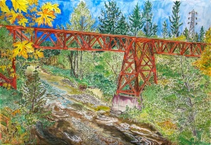Trestle over Eagle Creek, Estacada, Oregon, ink and watercolors, 22