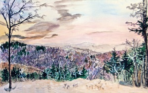 """View From the Hidden Lake Mountainside in the Winter, March 1994, ink and watercolor, 22""""X15"""""""