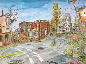 """Mount Angel Town Common, Mount Angel, Oregon, March 2015, ink and watercolor, 30""""X22"""""""