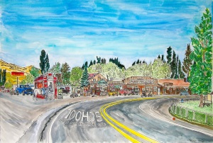 "Paisley, Paisley, Oregon, July 2015, ink and watercolor, 22""X15"""
