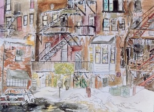 "Haymarket Cafe, Northampton, Massachusetts, April 1994, ink and watercolor, 15""X11"""