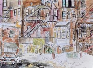 "Haymarket Cafe, Northampton, Massachusetts, April 1994, ink and watercolor, 15""X11"""